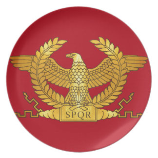 Roman Golden Eagle on Red Dinner Plate