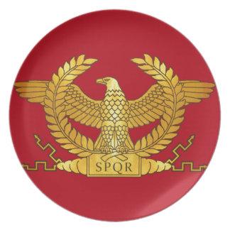 Roman Golden Eagle on Red Dinner Plate
