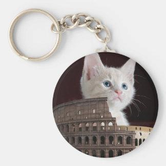 roman kitty basic round button key ring