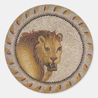 Roman Lion Mosaic Round Sticker
