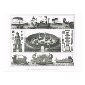 Roman naval vessels and a Roman naval spactacle Postcard