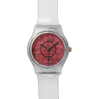 Roman Numbers on Red Textured Background Wristwatch