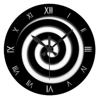 Roman Numeral Black Spiral Hypno Wall Clock