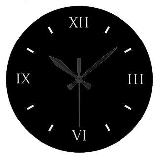 Roman Numeral Black Wall Clock (Round)