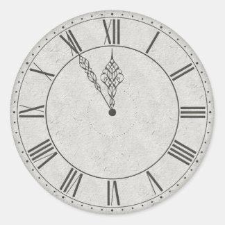 Roman Numeral Clock Face B&W Round Sticker