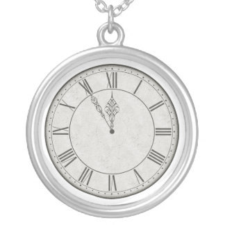 Roman Numeral Clock Face B&W Silver Plated Necklace