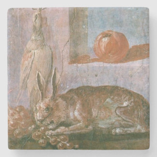 Roman Painting of Rabbit with Eating Groups Stone Coaster