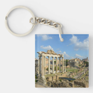 Roman Ruins in Rome Single-Sided Square Acrylic Key Ring