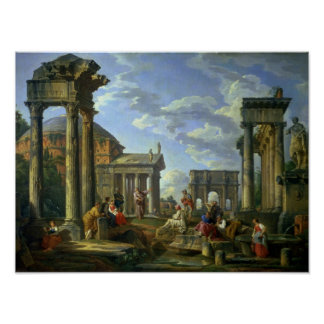 Roman Ruins with a Prophet, 1751 Poster