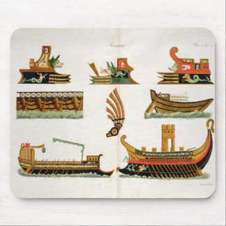 Roman Ships with details of figureheads, plate 23, Mouse Pad
