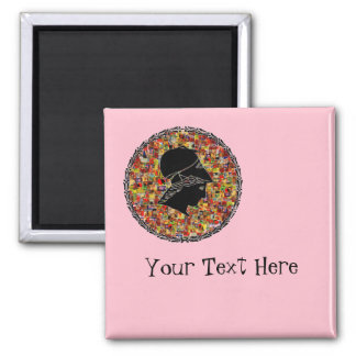 Roman Silhouette On Pink Square Magnet