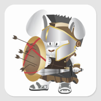 Roman Soldier Bunny Square Sticker