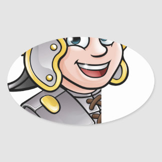 Roman Soldier Pointing Oval Sticker