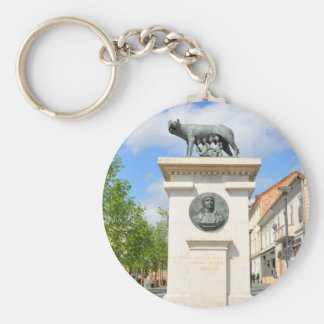 Roman statue basic round button key ring