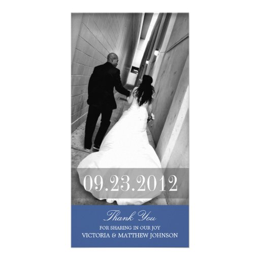 ROMANCE IN NAVY BLUE | WEDDING THANK YOU CARD CUSTOM PHOTO CARD