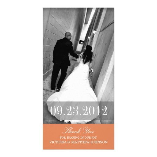 ROMANCE IN ORANGE | WEDDING THANK YOU CARD PHOTO CARD TEMPLATE