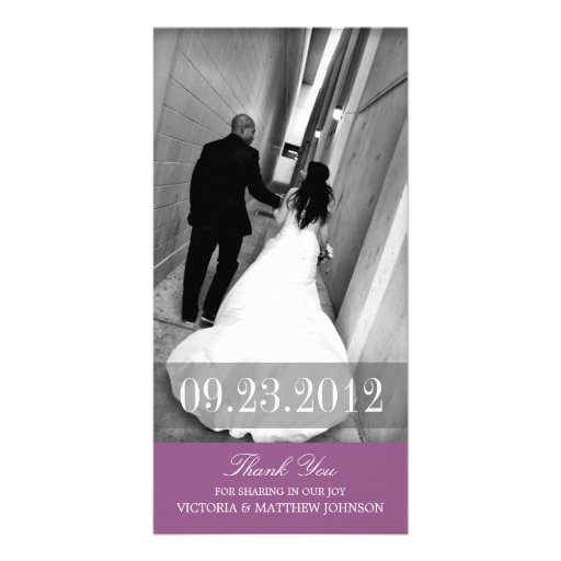 ROMANCE IN PURPLE | WEDDING THANK YOU CARD CUSTOM PHOTO CARD