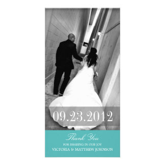 ROMANCE IN TURQUOISE | WEDDING THANK YOU CARD PERSONALISED PHOTO CARD
