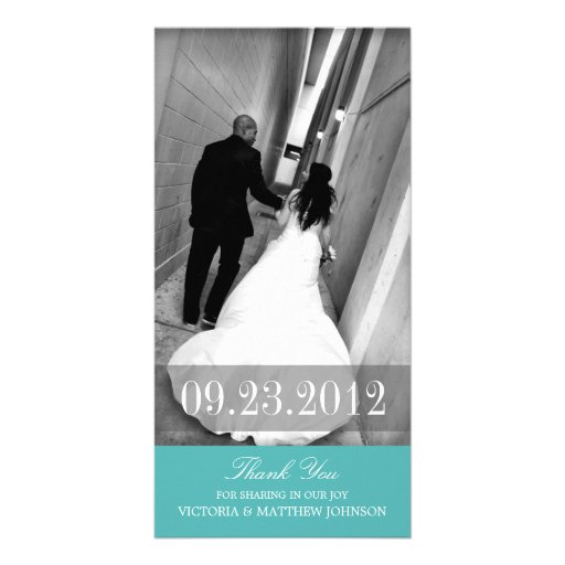 ROMANCE IN TURQUOISE | WEDDING THANK YOU CARD CUSTOM PHOTO CARD