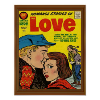 Romance Love Story Comic Cover Vintage Faux Wood Poster