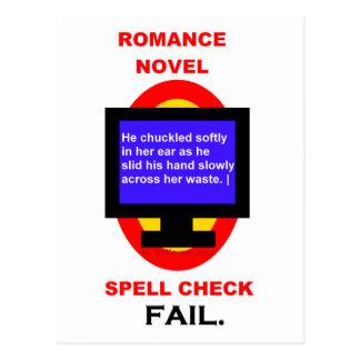 Romance Novel Spell Check Fail Funny Postcard