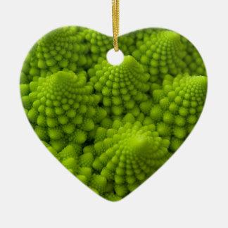 Romanesco Broccoli Fractal Vegetable Ceramic Heart Decoration