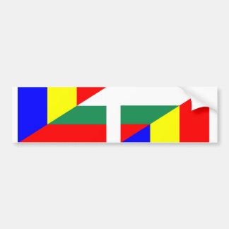 romania bulgaria flag country half symbol bumper sticker