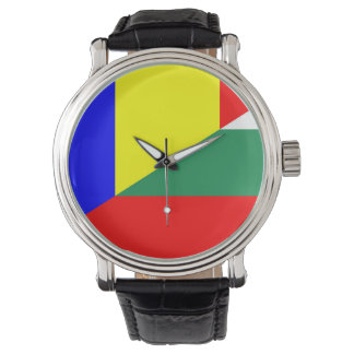 romania bulgaria flag country half symbol watch