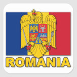 Romania Coat of Arms Flag Square Stickers