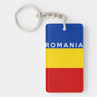 romania country flag symbol name text key ring