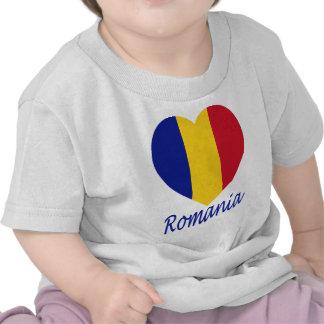 Romania Flag Heart T Shirts