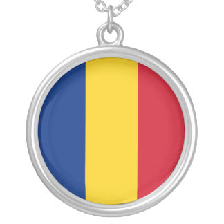 Romania Flag Silver Plated Necklace