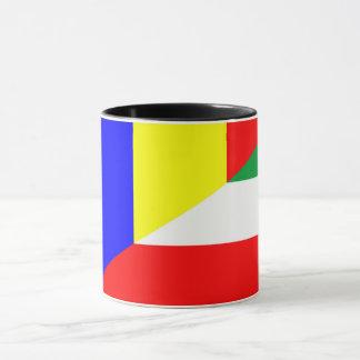 romania hungary flag country half symbol mug
