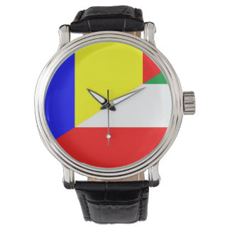 romania hungary flag country half symbol watch