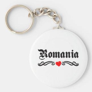 Romania Tattoo Style Basic Round Button Key Ring