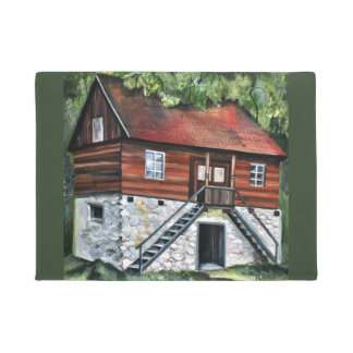 Romania - Traditional House - acrylic painting Doormat