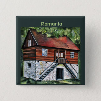 Romania - Traditional Transylvanian House 15 Cm Square Badge