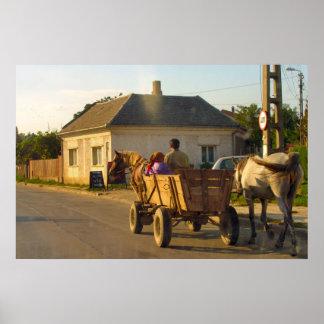 Romania transport horse drawn farm cart posters