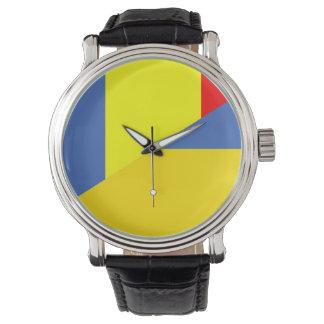 romania ukraine flag country half symbol watch
