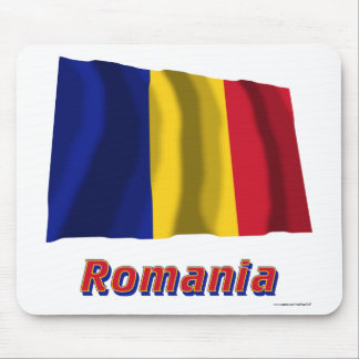 Romania Waving Flag with Name Mouse Pad