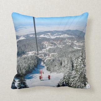 Romania, Winter sports in Piana Brasov Throw Pillow
