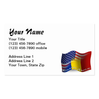 Romanian-American Waving Flag Pack Of Standard Business Cards