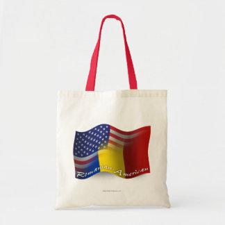 Romanian-American Waving Flag Canvas Bags