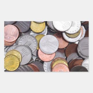 romanian coins rectangular sticker