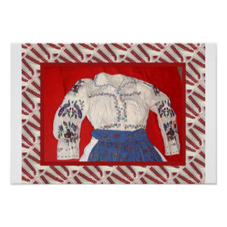 Romanian craft, embroidered blouse poster