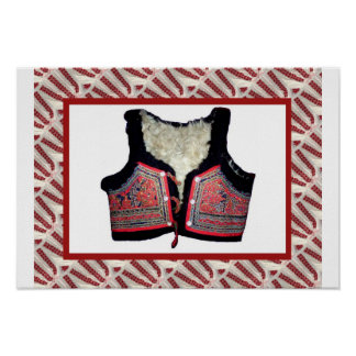 Romanian craft embroidered bodice poster