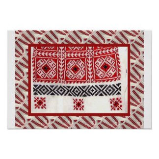 Romanian craft, embroidered crosstitch for apron poster