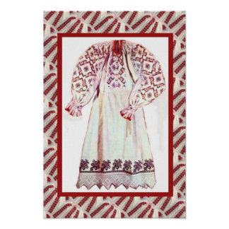 Romanian craft, embroidered dress 1 poster