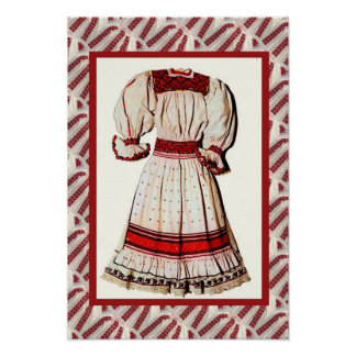 Romanian craft, embroidered dress poster