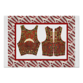Romanian craft, embroidered male waistcoat poster